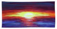 Beach Towel featuring the painting Sunset by Sonya Nancy Capling-Bacle