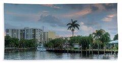 sunset South Florida canal Beach Towel