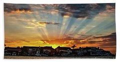 Sunset Sunrays Over Huntington Harbour Beach Towel