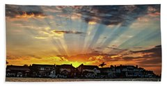 Sunset Sunrays Over Huntington Harbour Beach Sheet by Peter Dang
