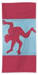 Beach Towel featuring the painting Sunset Surfer by Ben Gertsberg