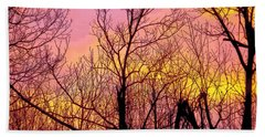 Sunset Through The Trees Beach Towel