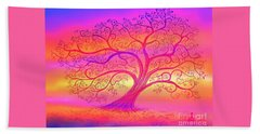 Beach Towel featuring the painting Sunset Tree Cats by Nick Gustafson
