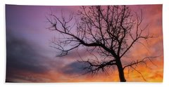 Beach Towel featuring the photograph Sunset Tree by Darren White