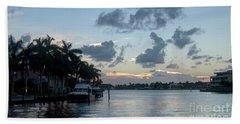 Sunset Tropical Canal Beach Towel