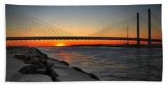 Sunset Under The Indian River Inlet Bridge Beach Towel