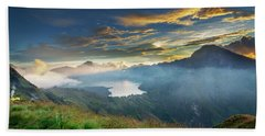 Sunset View From Mt Rinjani Crater Beach Towel