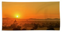 Sunset View Of Bagan Pagoda Beach Sheet