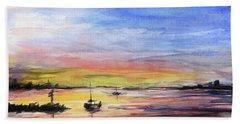 Sunset Watercolor Downtown Kirkland Beach Sheet by Olga Shvartsur
