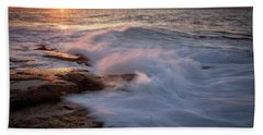 Sunset Waves Rockport Ma. Beach Towel by Michael Hubley
