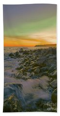Sunset Waves Beach Sheet by Todd Breitling