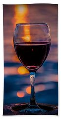Beach Sheet featuring the photograph Sunset Wine by Michaela Preston