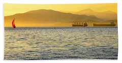 Sunset With Red Sailboat Beach Towel