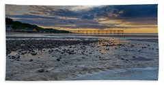 Sunset With Saltburn Pier Beach Sheet by Gary Eason
