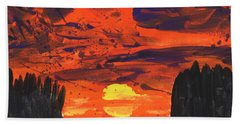 Sunset Without Swan Beach Towel