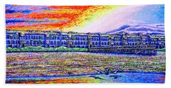 Beach Towel featuring the painting sunset,Jax beach by Viktor Lazarev
