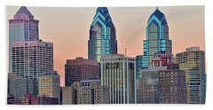 Sunsets Glow In Philly Beach Towel
