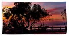 Sunset Silhouettes From Palisades Park Beach Towel