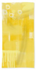 Sunshine- Abstract Art Beach Towel by Linda Woods
