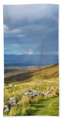 Sunshine And Raining Down With Rainbow On The Countryside In Ire Beach Sheet by Semmick Photo