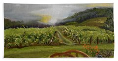 Beach Towel featuring the painting Sunshine Bridge At The Cartecay Vineyard - Ellijay Ga - Vintner's Choice by Jan Dappen