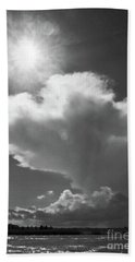 Sunshine, Clouds And The Bay In Bw Beach Sheet by Mary Haber
