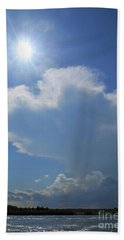 Sunshine, Clouds And The Bay Beach Towel by Mary Haber