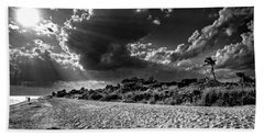 Sunshine On Sanibel Island In Black And White Beach Towel by Chrystal Mimbs