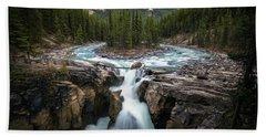 Sunwapta Falls In Jasper National Park Beach Sheet