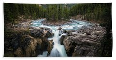 Sunwapta Falls In Jasper National Park Beach Sheet
