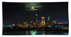 Super Full Moon Over Cleveland Beach Towel