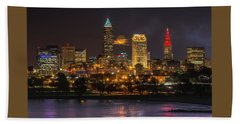 Super Moon 2016 Over Cleveland Beach Towel
