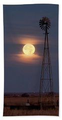 Super Moon And Windmill Beach Towel by Rob Graham