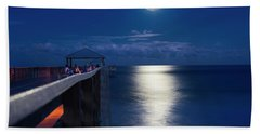 Beach Towel featuring the photograph Super Moon At Juno by Laura Fasulo