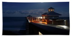 Beach Towel featuring the photograph Super Moon At Juno Pier by Laura Fasulo