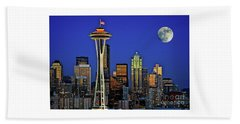 Super Moon Over Seattle Beach Towel