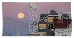 Super Wolf Moon At The Watch Tower Beach Towel