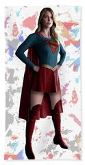 Beach Towel featuring the mixed media Supergirl Splash Super Hero Series by Movie Poster Prints