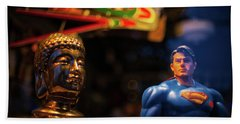 Superman Vs Buddha Beach Towel