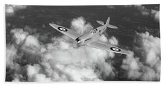 Beach Towel featuring the photograph Supermarine Spitfire Prototype K5054 Black And White Version by Gary Eason