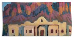 Beach Towel featuring the painting Superstition Mountain Evening by Diane McClary
