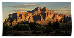 Superstitions At Sunset  Beach Towel