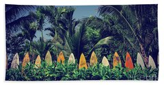Beach Towel featuring the photograph Surf Board Fence Maui Hawaii Vintage by Edward Fielding