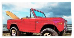 Surf Bronco Beyond The 4 Wheel Drive Only Sign Padre Island Beach Towel
