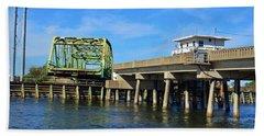Beach Towel featuring the photograph Surf City Bridge by Bob Sample