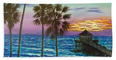 Beach Towel featuring the painting Surf City Sunset by Amelie Simmons