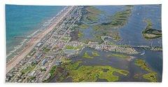 Surf City Topsail Island Aerial Beach Towel
