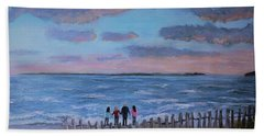 Beach Sheet featuring the painting Surf Drive Beach Sunset With The Family by Rita Brown