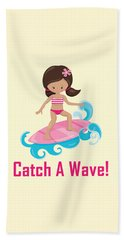 Surfer Art Catch A Wave Girl With Surfboard #19 Beach Towel