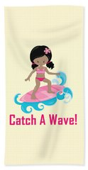Surfer Art Catch A Wave Girl With Surfboard #20 Beach Towel